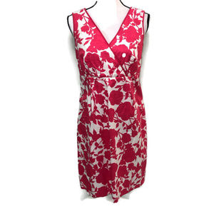 Boden Pink White Floral Sleeveles Dress
